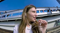 Talia Mint Plays In Public With Remote Control