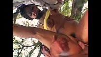 Latina brunette in pigtails sucks cock and fucks outdoors