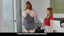 Redhead Milf (Lauren Phillips) And StepDaughter (Cleo Clementine) Threesome With Hot StepDad