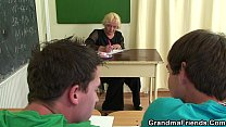 Threesome with very old teacher and boys teen