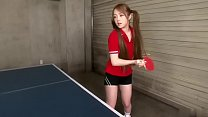 Babe in pigtails sucks guys dick after a game of ping pong