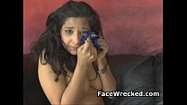 Crying Brunette Amateur Girl Getting Her Face Wrecked