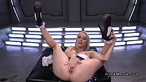 Trimmed cunt blonde squirts on fucking machine thumbnail