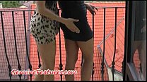 Horny lesbians have fun during backstage photoshoot