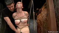 Tied Boobs Redhead Slave Anal Toyed