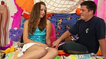 TeenyPlayground Brunette teen gets pussy fucked on the bed thumbnail