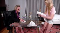 Cleaning Woman And The Mature Boss Having Sex In The Office - Scarlett Sage and Dee Williams thumbnail