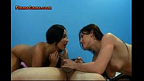 Two Stocking Clad Brunette Hard Fucked1