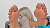 Blond haired feet finger