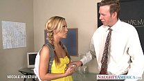Pigtailed Nicole Aniston suck cock in classroom thumbnail