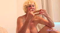AuntJudys - Busty 56yo British Cougar Molly lotions-up in Stockings & Lingerie