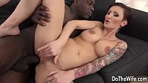 Euro wife takes big black dick in her pussy and asshole