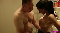 German Big Tit Teen with Tattoo fuck Stranger in Bathroom