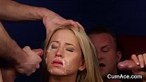 Kinky centerfold gets cumshot on her face sucking all the ejaculate