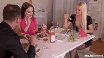 Horny Milf Dinner With Kitana Lure & Marie Clar...