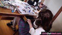 Busty hairy brunette plays with dildo at home thumbnail