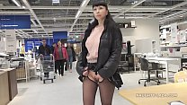 Short skirt and sheer blouse for flashing and public upskirt - 9Club.Top