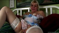Saucy old spunker in sexy lingerie talks dirty and fucks her juicy pussy