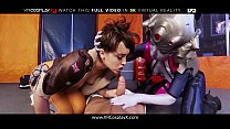 VRCosplayX XXX Overwatch Hard Threesome Fucking