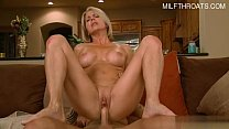 Hot Blonde Milf fucks boy on couch