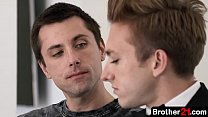 His older stepbrother gives him a passionate kiss, slipping his tongue between his lips