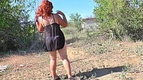 Sex and blowjob with a mature mom in nature