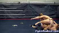Dyke babe queened by her wrestling partner