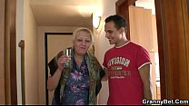 Busty old granny picked up by young stud Preview