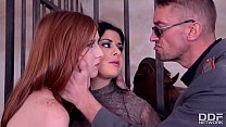 Horny babes Billie Star & Linda Sweet share stud's hard cock in prison cell thumbnail