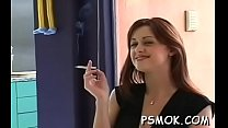 This playgirl gets horny and masturbates while smoking