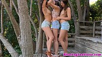Shyla Jennings licking lesbian pussy in trio thumbnail