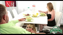 Sucking Daddy's Cock Under Table In Front Of Mom Cali Sparks POV preview image