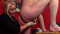 Dominating milf sucking and jerking in cfnm's Thumb