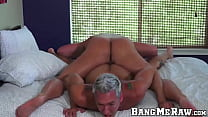 Huge hunk slides his cock raw into tattooed guys tight ass