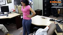 Babe sells her old mink coat and fucked in the back office