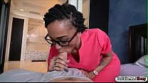 Ebony GF Julie Kay sucks off and rides her sick BF hard cock Thumbnail