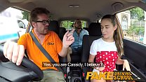 Fake Driving School Sexy horny learners secretly fuck in instructors car Image
