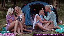 Les teen outdoors licking