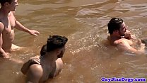 Gaysex hunks suck cock at the river