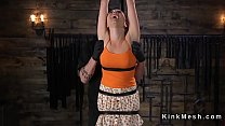 Slave bent over strapped with hair pulled back Preview