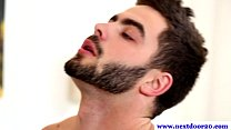 Handsome hairy gay enjoys oral session />