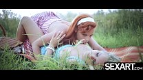 Stunning lesbians with perfect tits eat pussy on retro road trip