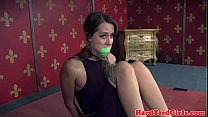 Tied up bdsm sub toyed by interracial maledom