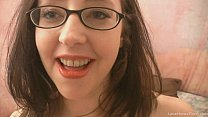 Nerdy amateur brunette gets down and dirty