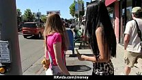 Sexy exhibitionist GFs are paid cash for some public fucking 18 Image
