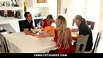 FamilyStrokes - Step Sister Sucks And Fucks Brother During Thanksgiving Dinner video