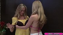 Busty blonde fingers her milf friend