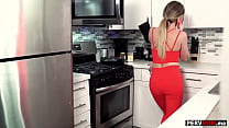 My horny stepmom MILF Linzee Ryder kitchen blowjob