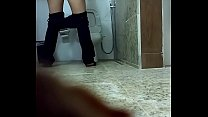 Red hair girl spied on toilet صورة
