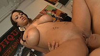 Ebony brunette Jade Aspen with big juggs is serviced by big white dick